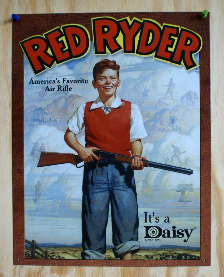 Daisy Red Ryder Rifle Tin Sign Gun American Wild West Christmas ...