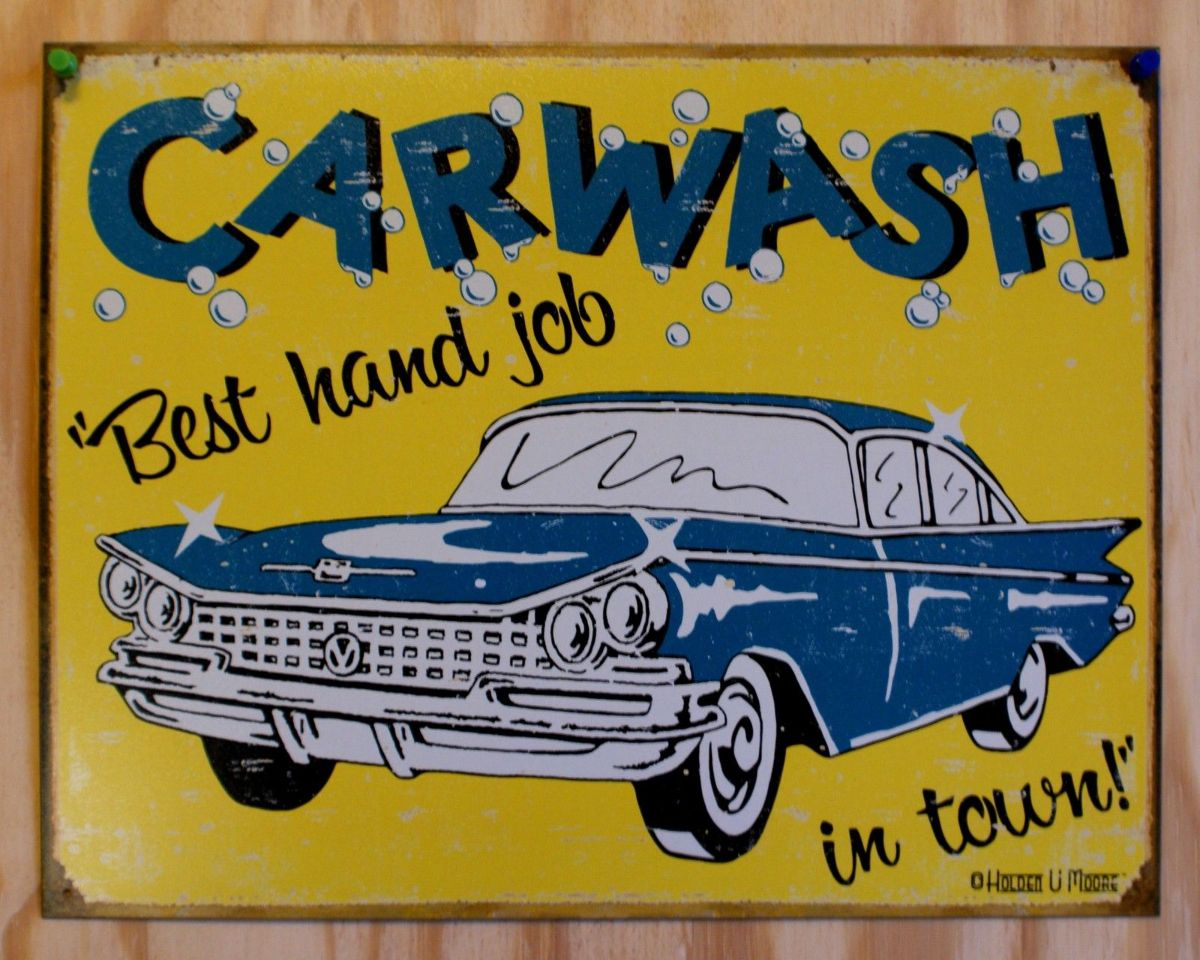 Best Hand Job Car Wash Tin Metal Retro Sign 50s Auto Reproduction