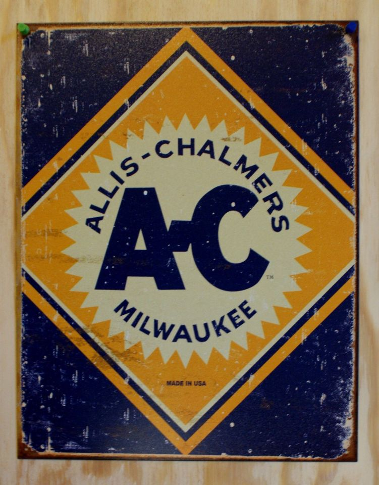 Barn Garage Signs : Allis chalmers milwaukee tin sign tractor farm equipment