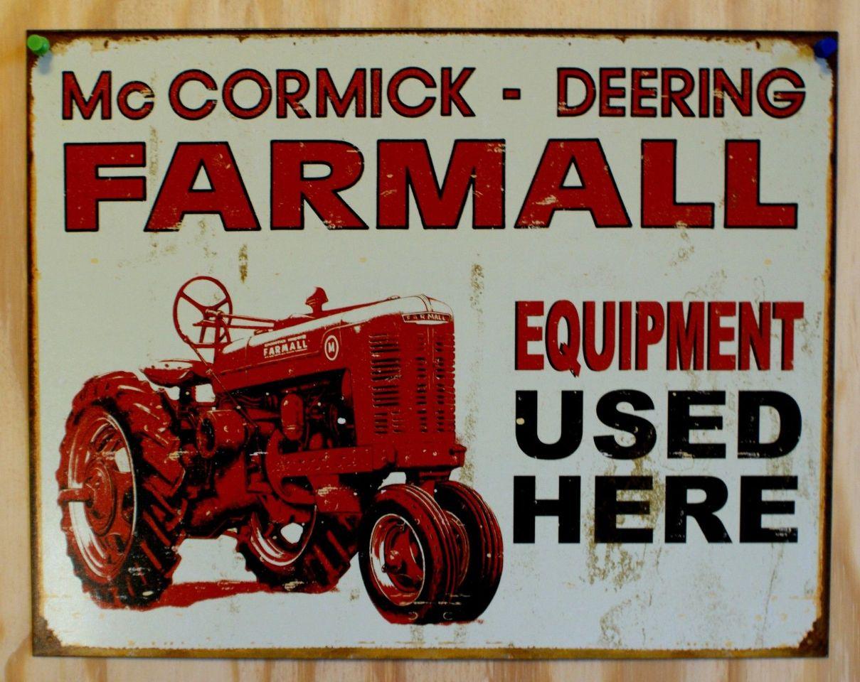 McCormick Deering Farmall Outstanding Tractor Tin Metal Sign Garage Classic