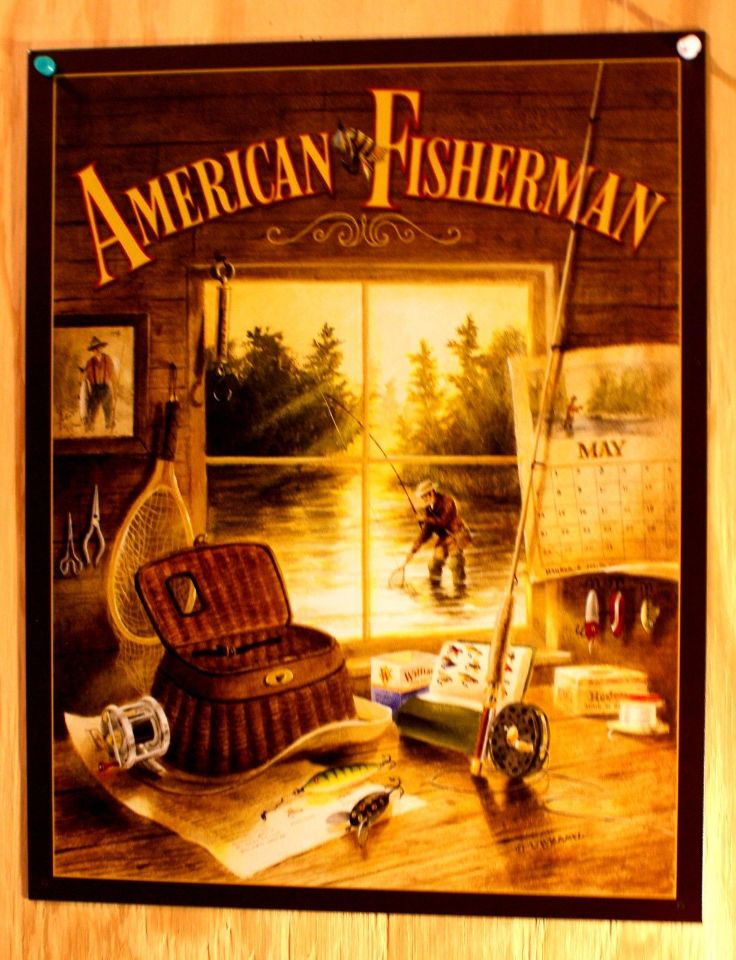 American fisherman tin sign cabin outdoors fly fishing for Bass pro shop fly fishing