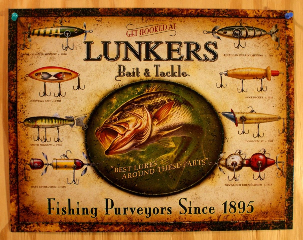 Lunkers bait tackle tin sign outdoors fly fishing lure for Vintage fishing signs