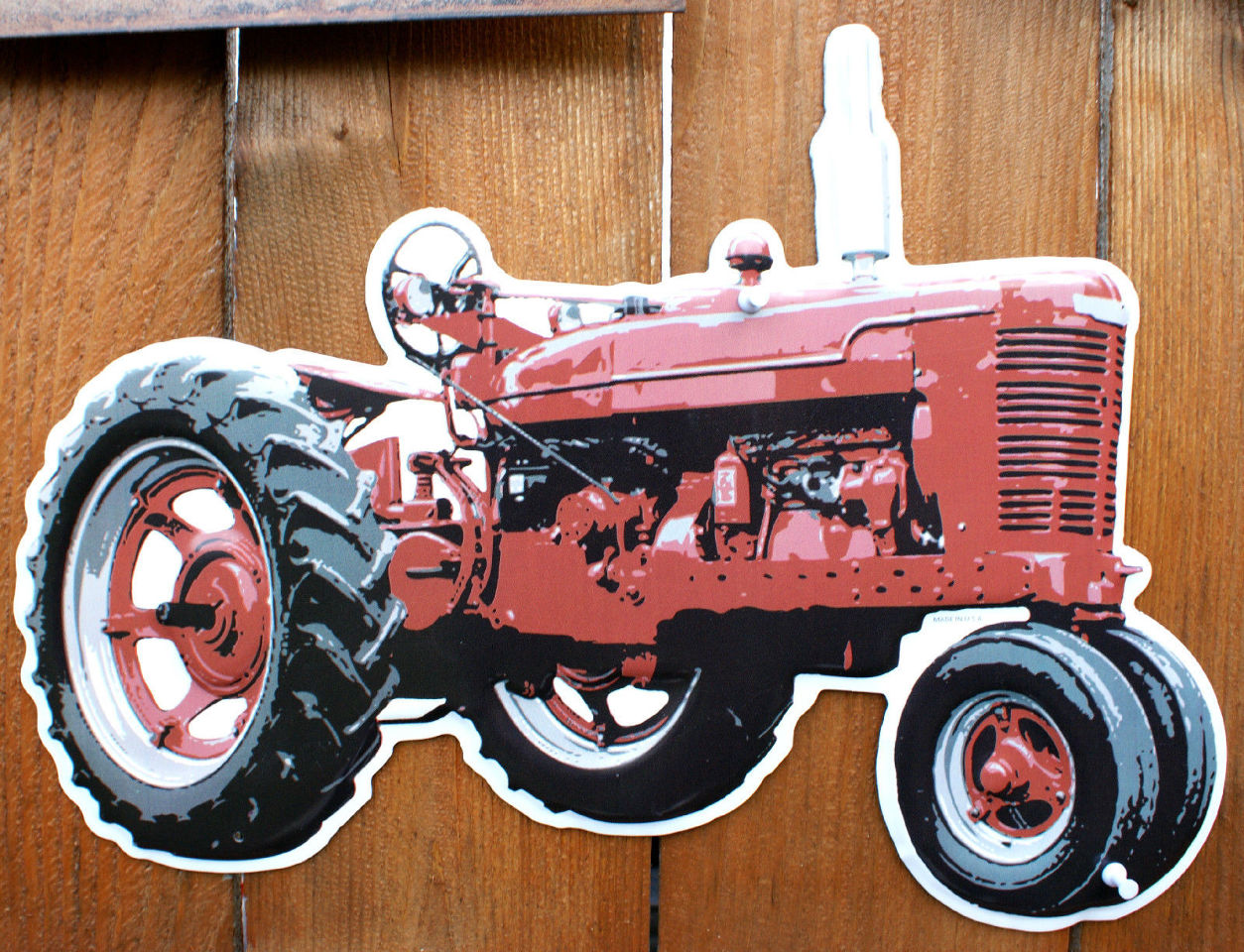 Ih farmall tractor die cut tin sign farm international for International harvester room decor