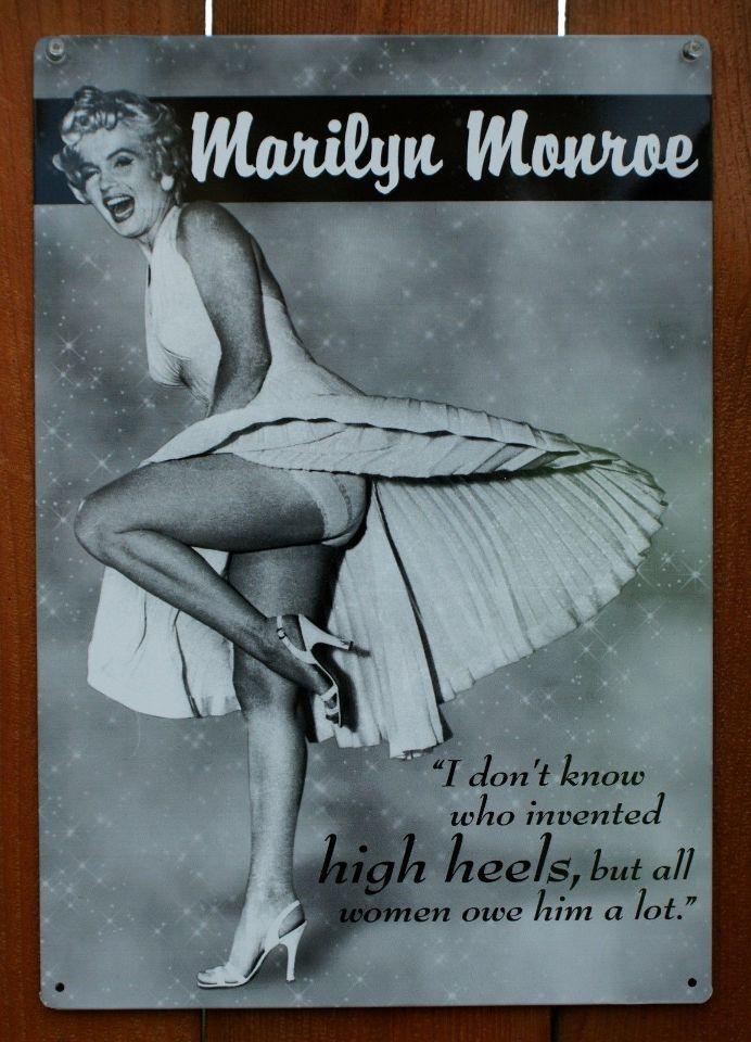 Marilyn Monroe High Heels Tin Metal Sign Pin Up Bar Quotes