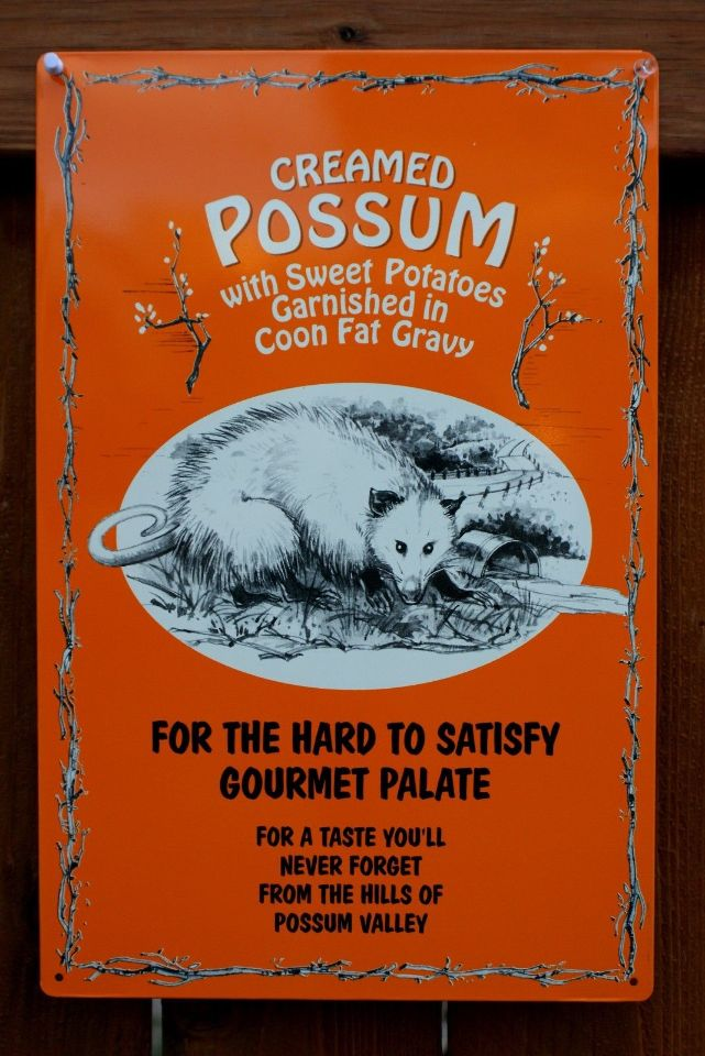 Creamed Possum Gourmet Food Tin Sign Americana Cooking Country Kitchen Food B60 The Wild Robot