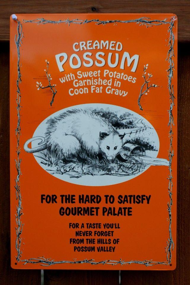 Creamed Possum Gourmet Food Tin Sign Americana Cooking