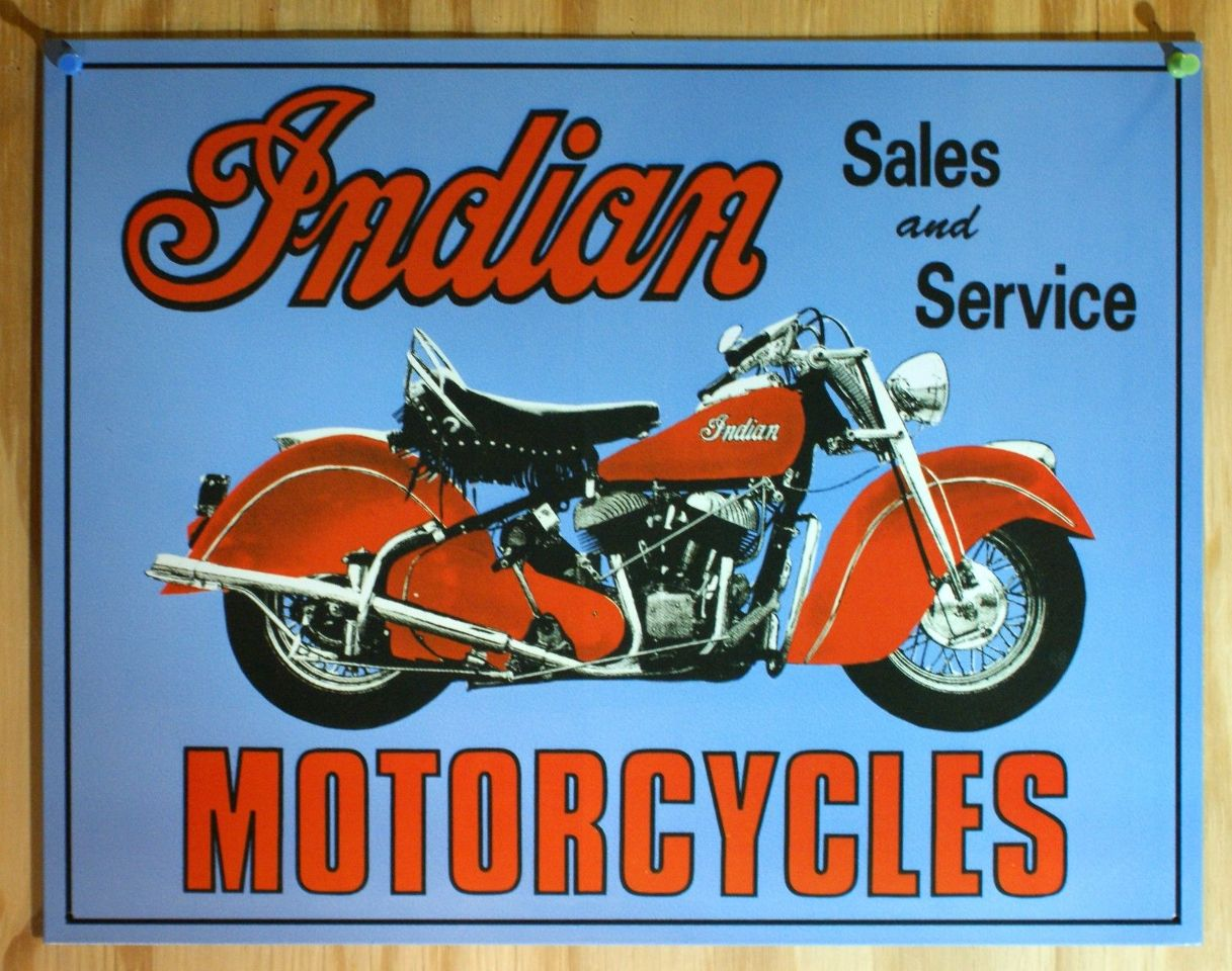 Indian Motorcycle Sales & Services Tin Sign HD Bike V Twin