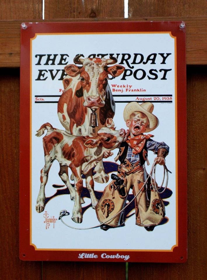Saturday Evening Post Tin Sign Americana Rodeo Country Boy
