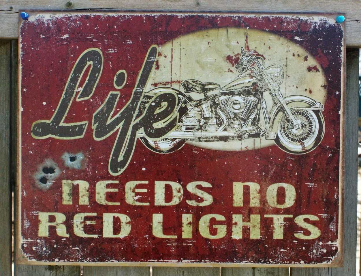 Motorcycle Man Cave Signs : Life needs no red lights tin metal sign man cave garage