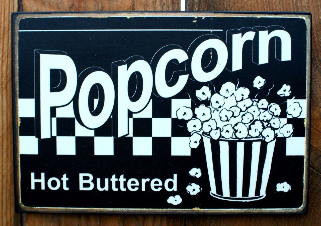 Hot Buttered Popcorn Tin Sign Home Theater Movie Room Kitchen decor ...