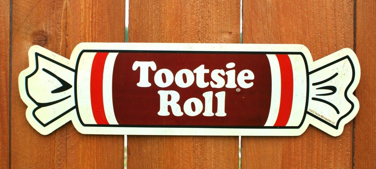 Tootsie Roll Tin Metal Sign Candy Lobby Snacks Shop