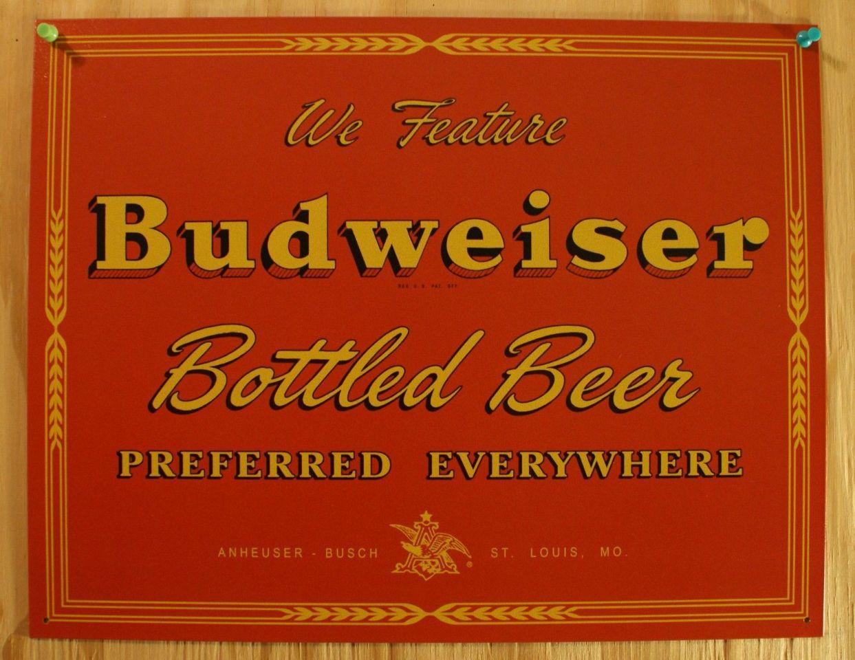 Budweiser Vintage Red Label Tin Sign Bud Beer Bar Garage Man Cave ...