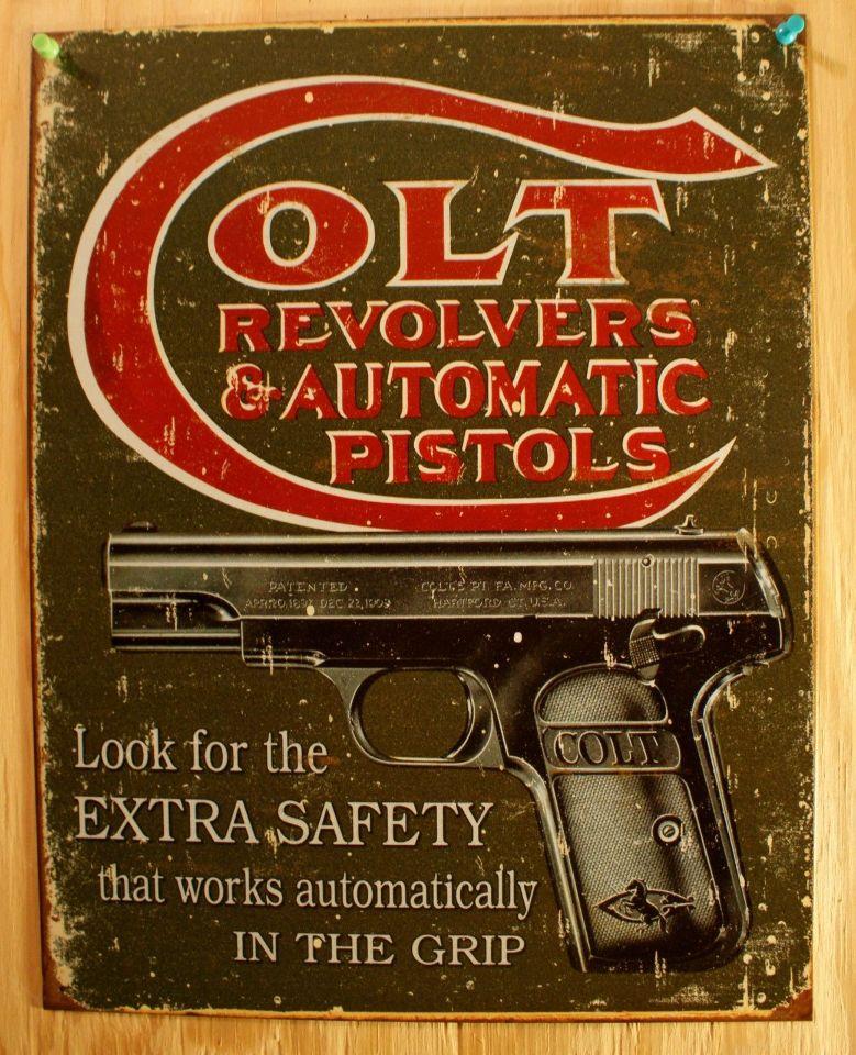 Colt Revolvers & Automatic Pistols Cartridges Tin Sign Guns  44  38 Ammo E4