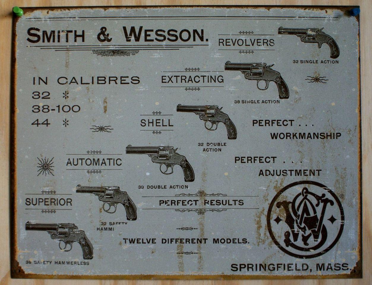 Smith Amp Wesson Tin Sign Pistol Revolver Gun Rifle Fire Arm