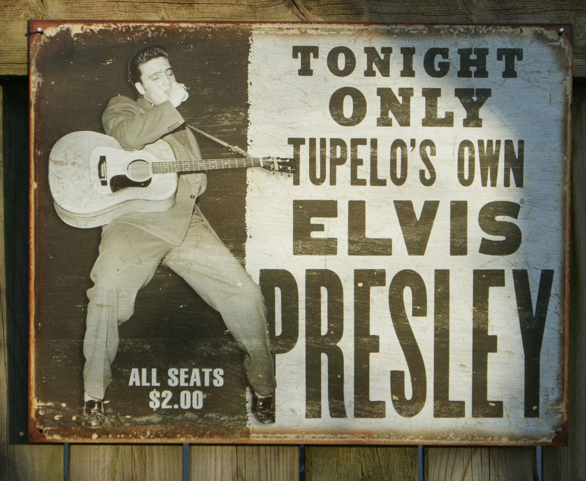 Man Cave Tin Signs : Elvis presley concert hand bill tin sign music man cave garage