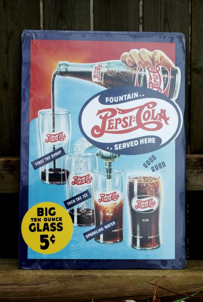 Pepsi Cola Classic Fountain Drink Recipe Aluminum Sign