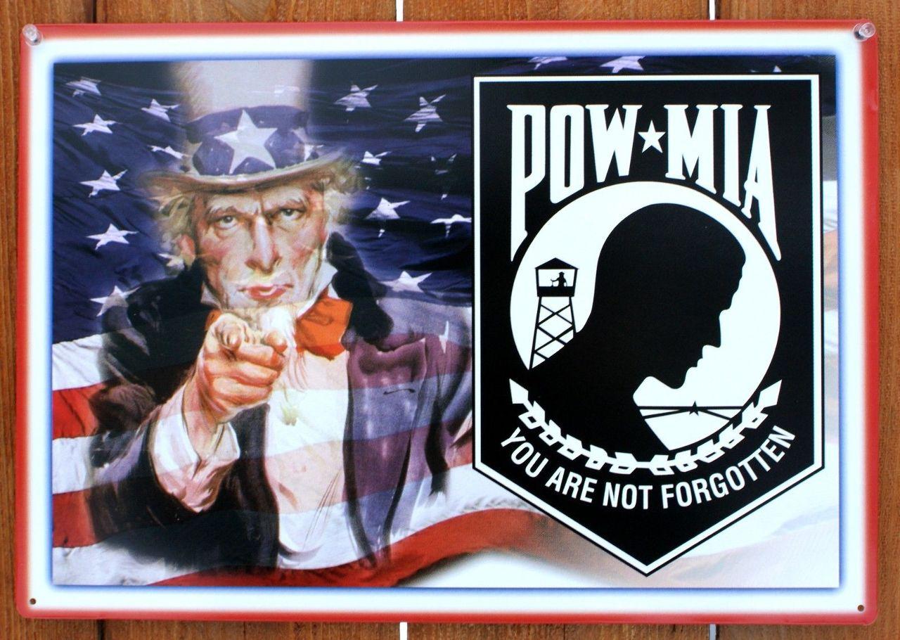 Pow Mia Not Forgotten Uncle Sam Tin Sign Military Army