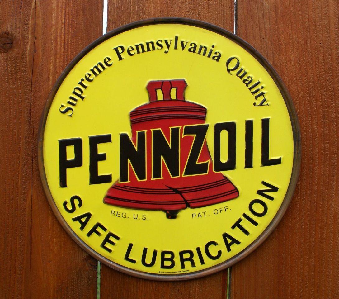 Pennzoil Oil Tin Metal Sign Pennsylvania Mechanic Garage