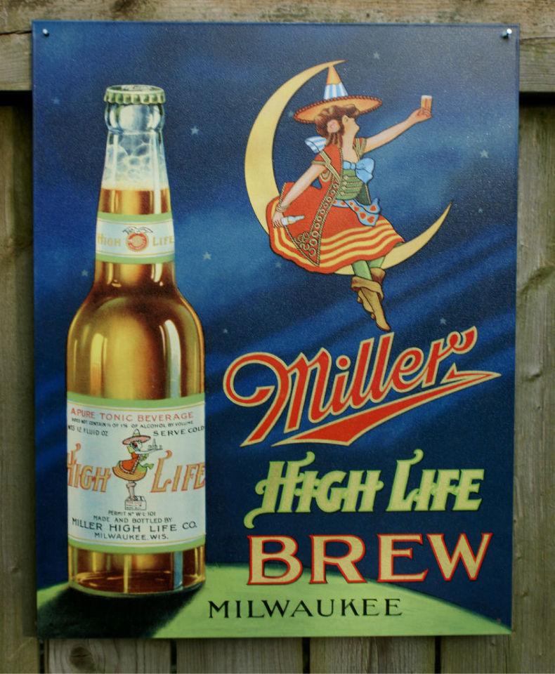 Miller High Life Classic Beer Witch Milwaukee Bar Garage brew tin metal sign