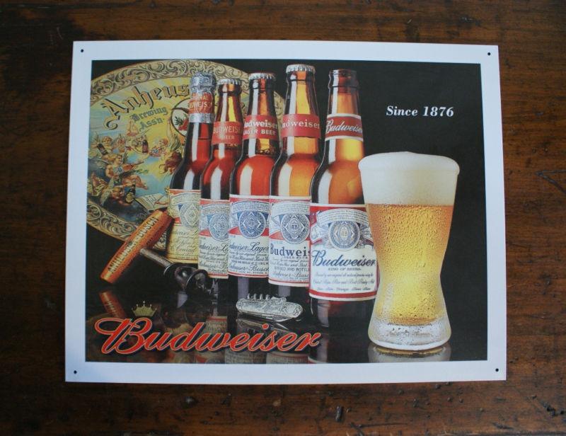 Budweiser History of Bud bottle logo Tin Metal Sign Bar Mancave Garage Beer