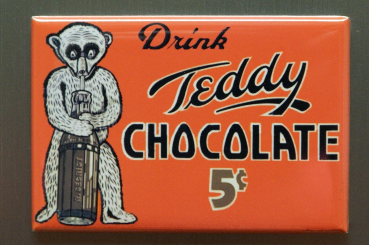 Drink Teddy Chocolate FRIDGE MAGNET Teddy Bear Kitchen Decor ...