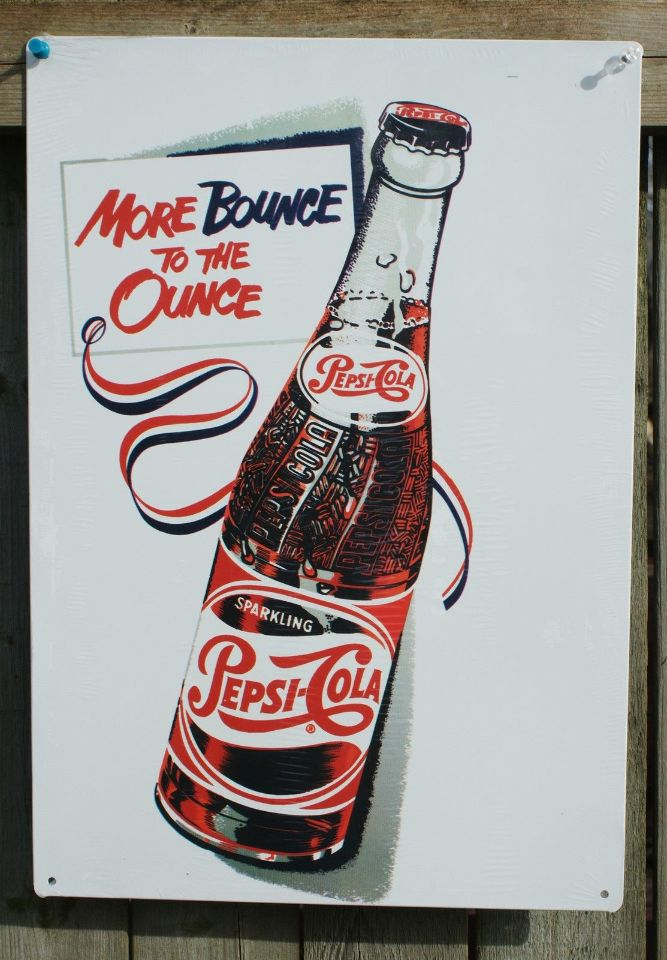 Pepsi Cola Bounce To Ounce Classic Tin Sign Garage Man