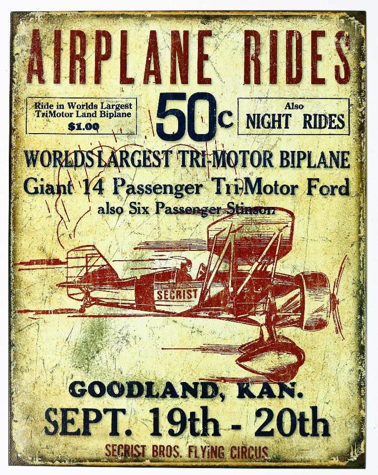 Airplane Rides Secrist Bros Flying Circus Tin Sign Bi