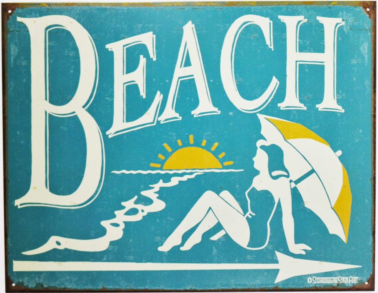 Pacific Beach Postcard Vintage Metal Sign