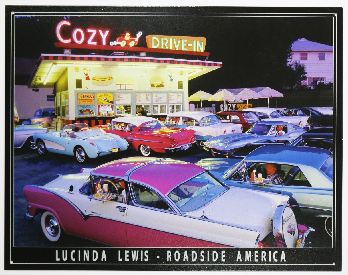 Cozy Drive In Tin Sign Bel Air Lucinda Lewis Ford Chevy 65
