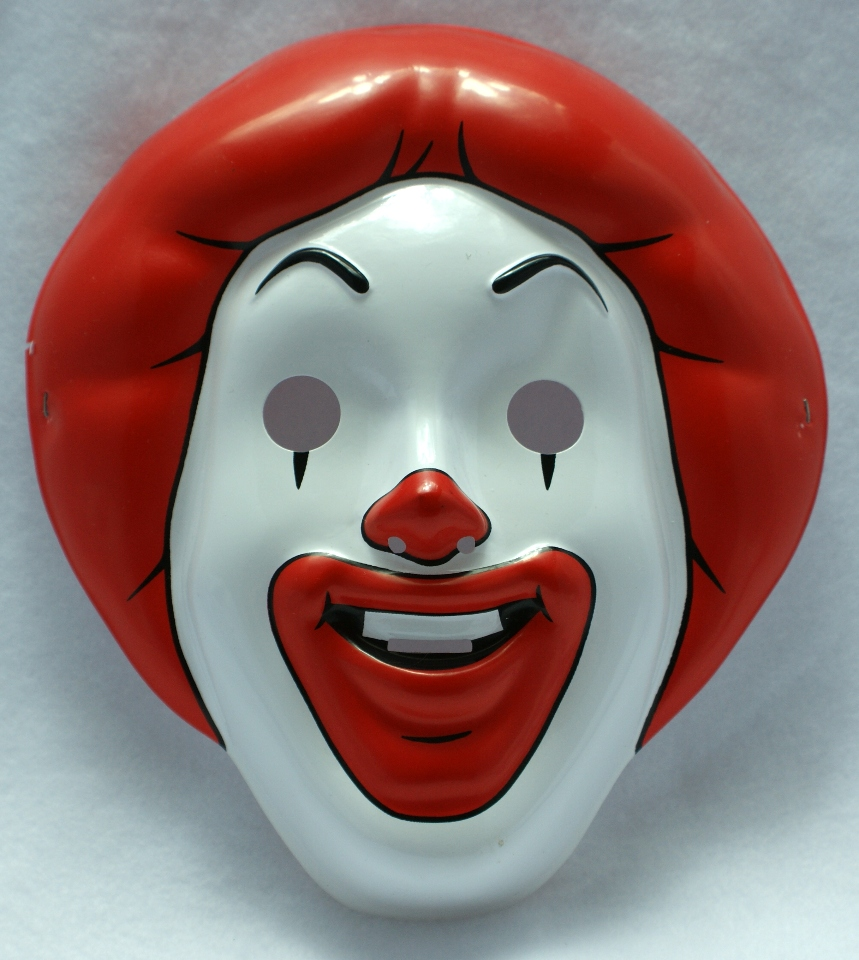 McDonalds Ronald Mcdonald Halloween Mask Near Vintage 1997 Pop Art ...