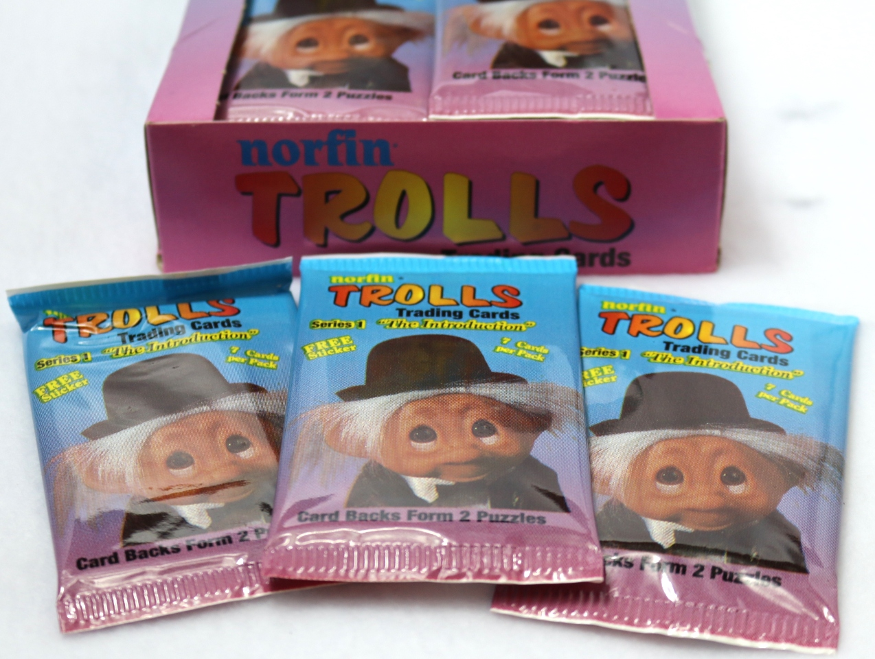 3 Packs of Vintage Norfin Trolls Trading Cards 80's 90's Troll The Introduction