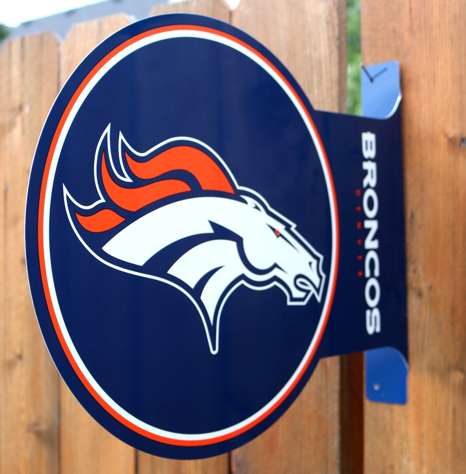 Denver Broncos Flange Tin Metal Sign Double Sided Nfl