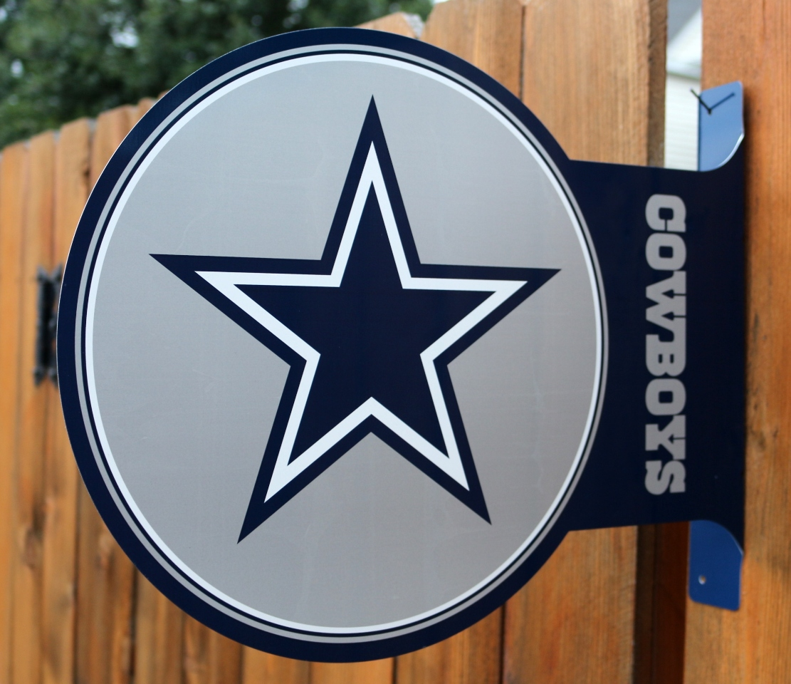 Dallas Cowboys Flange Tin Metal Sign Double Sided Nfl