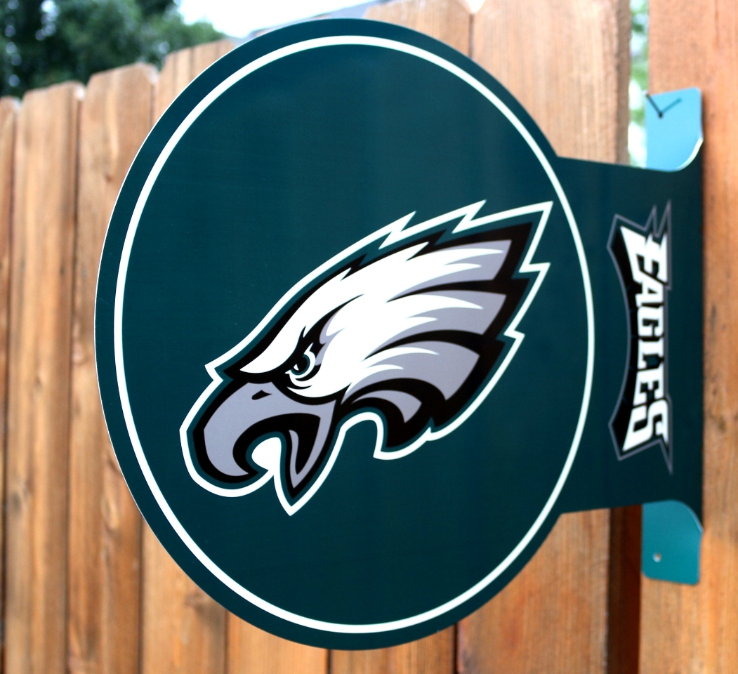 Double Sided Philadelphia Eagles Flange Metal Sign Nfl