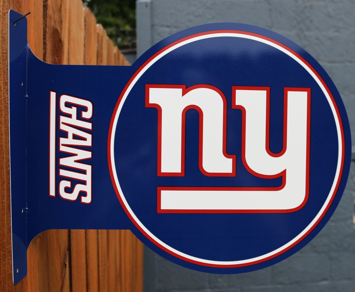 Double Sided New York Giants Flange Tin Metal Sign Nfl