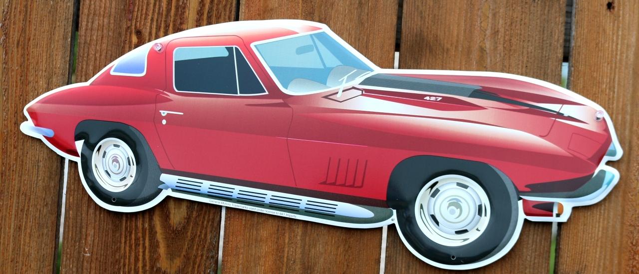 Chevy corvette die cut tin sign v8 427 1963 vette for 1963 split window corvette 427