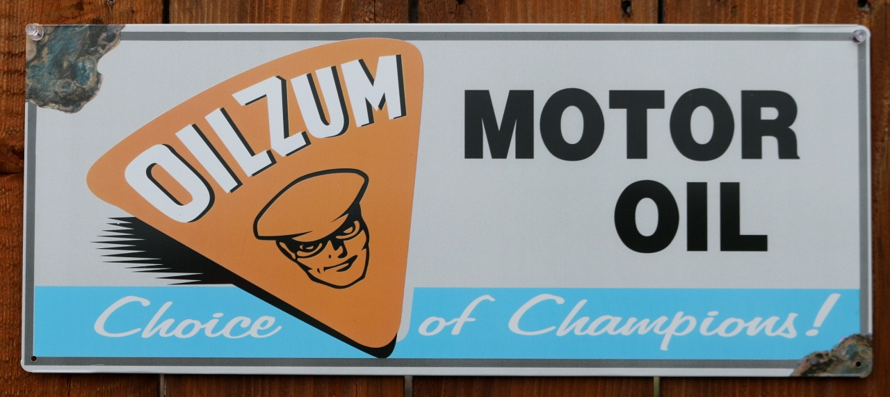 Oilzum Motor Oil Tin Metal Sign Racing Garage Mechanic