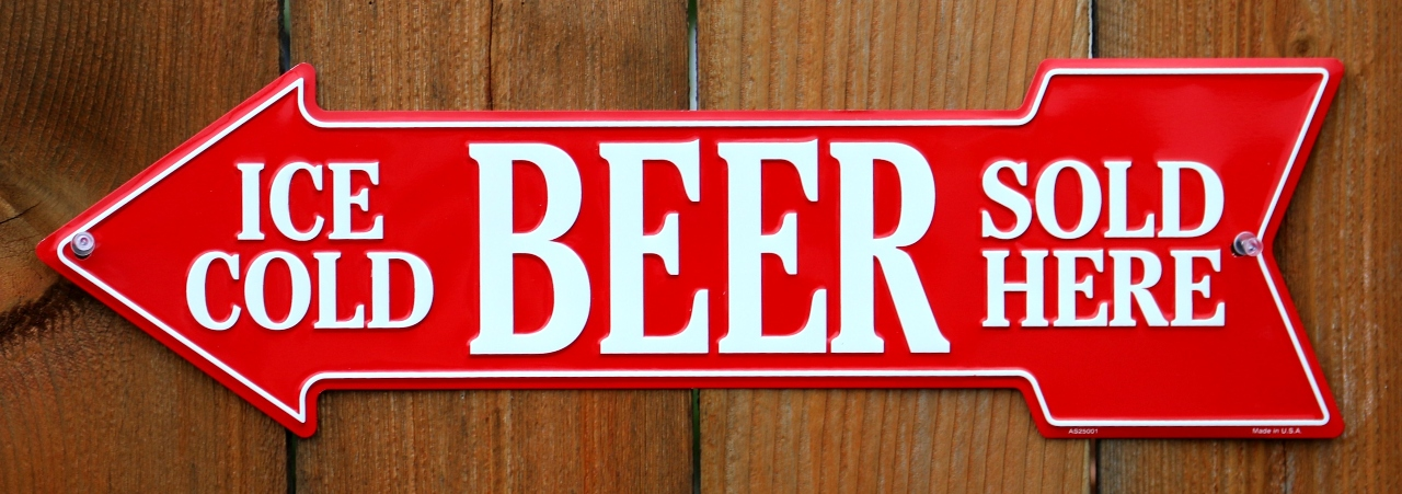 Ice Cold Beer Sold Here Metal Arrow Tin Sign Beer Cave