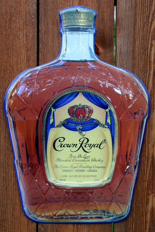 Crown Royal Bottle Die Cut Tin Sign Whiskey Liquor Alcohol
