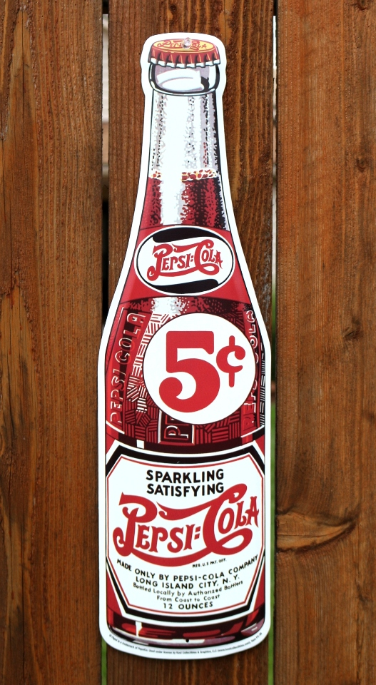 Large Pepsi Cola Glass Bottle Tin Metal Sign Vintage Style