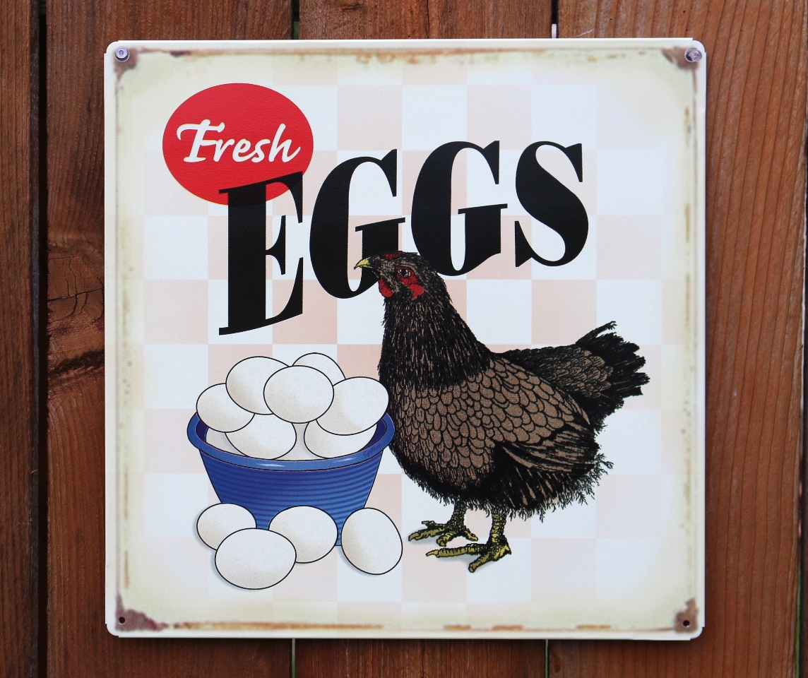 Fresh Eggs Tin Sign Country Kitchen Chicken Rooster Farm