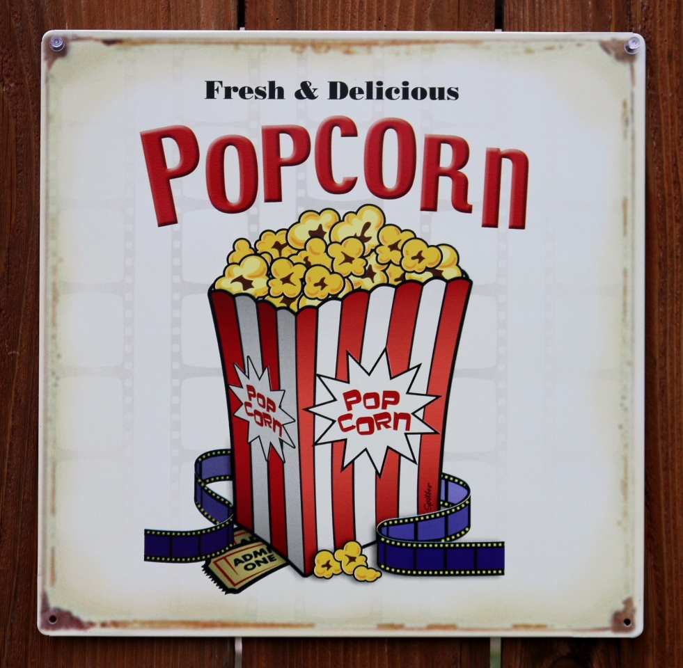 Fresh Delicious Popcorn Tin Sign Home Movie Theater Kitchen Media Room D67 The Wild Robot