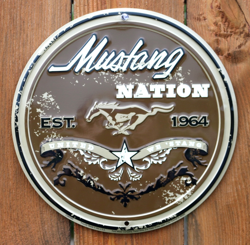 Mustang nation tin round sign shelby gt fastback 5l 5 0 pony car g69
