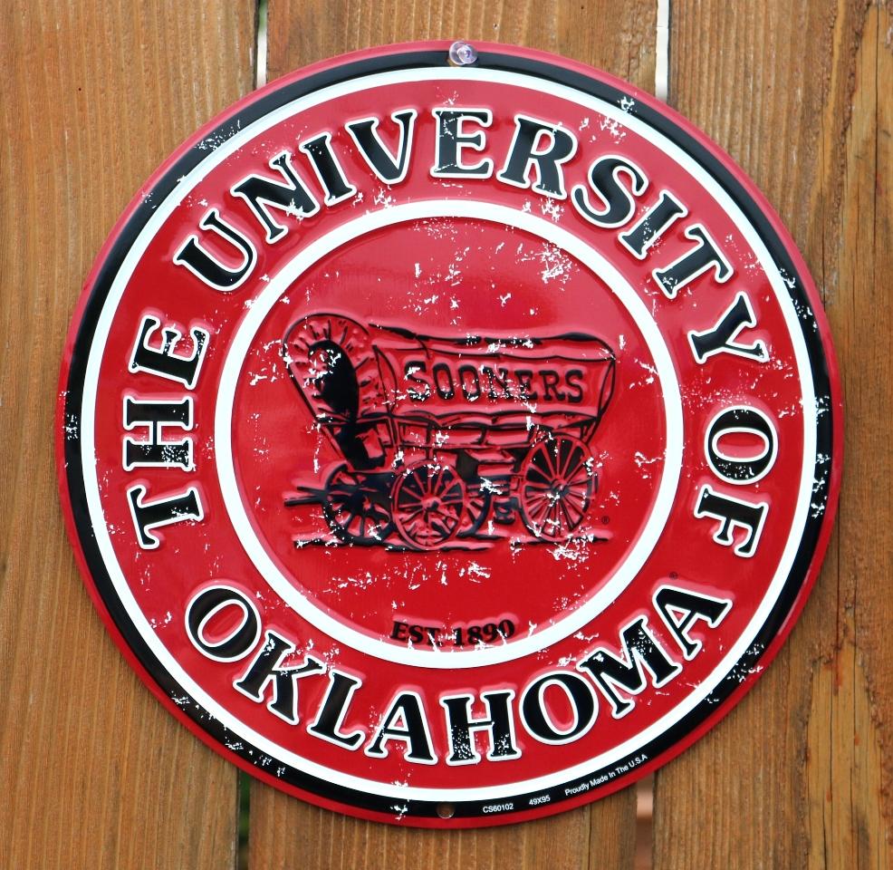 The University of Oklahoma Sooners Tin Round Sign NCAA ...