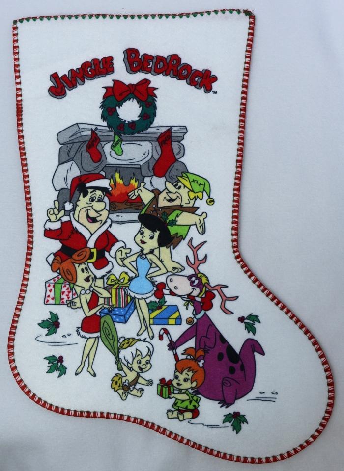 Vintage The Flintstones Jingle Bedrock Christmas Stocking Felt Stockings FF
