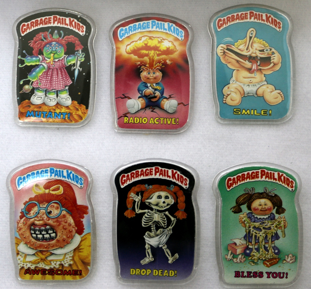 Vintage Topps Garbage Pail Kids Button Set of 6 GPK 1980's Pop Art Lot 3