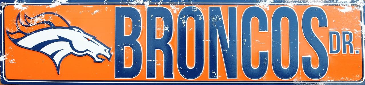 Denver Broncos Drive Tin Metal Street Sign Nfl Football