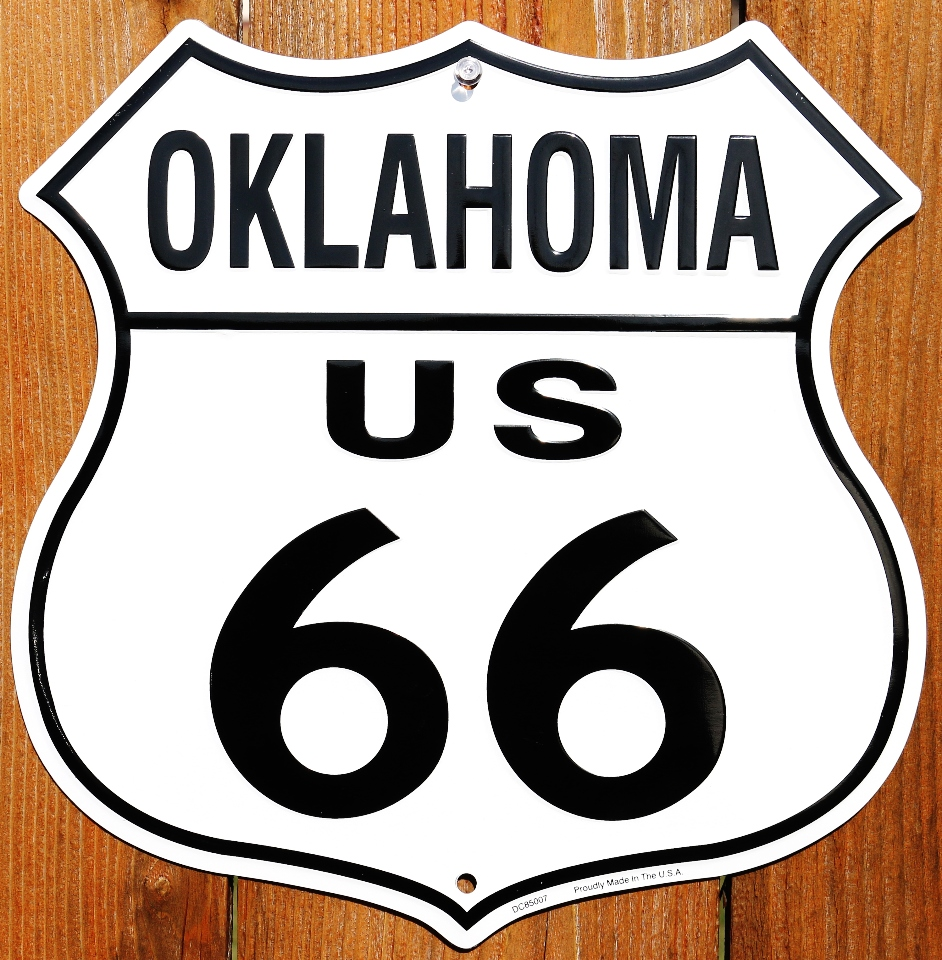 Oklahoma us route 66 highway tin metal sign americana for Oklahoma fishing license age
