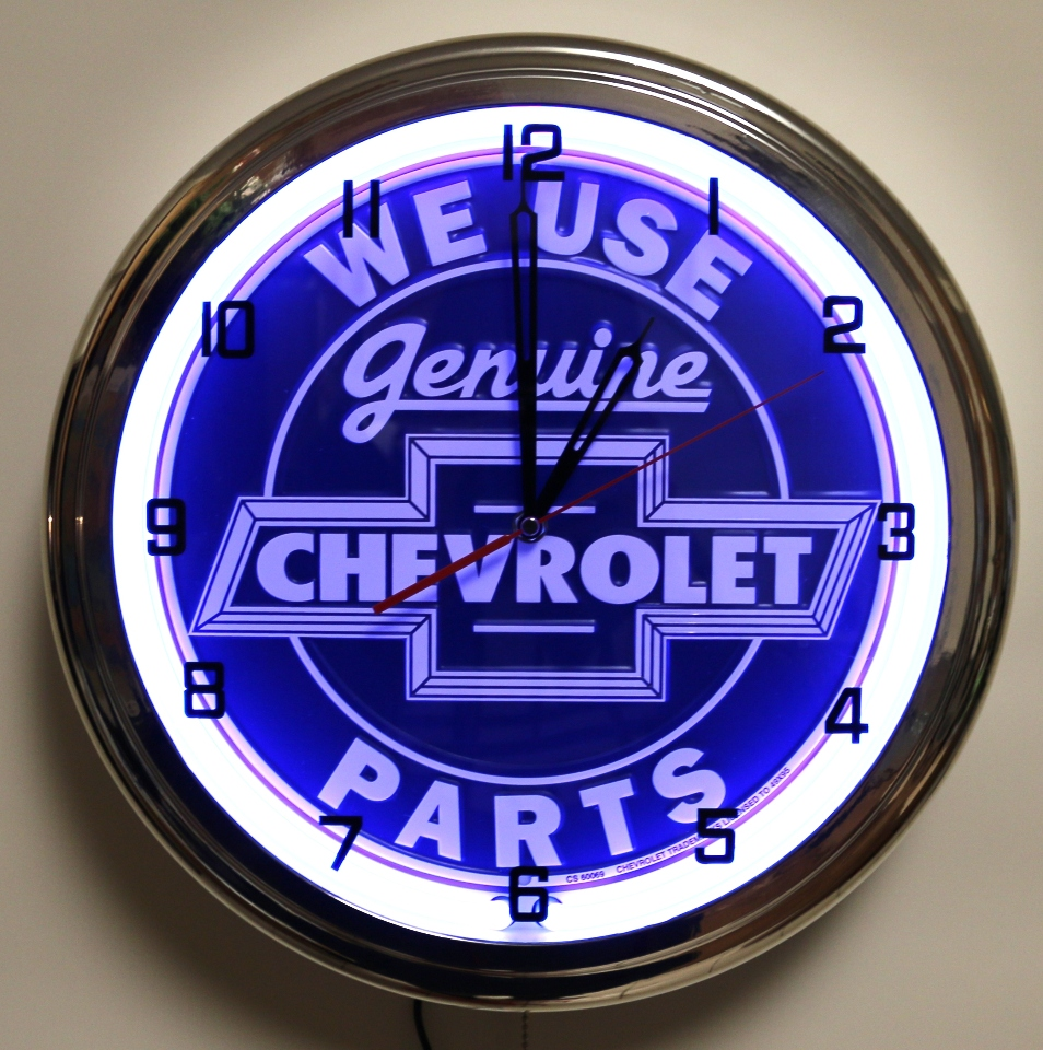 vintage chevrolet neon clock