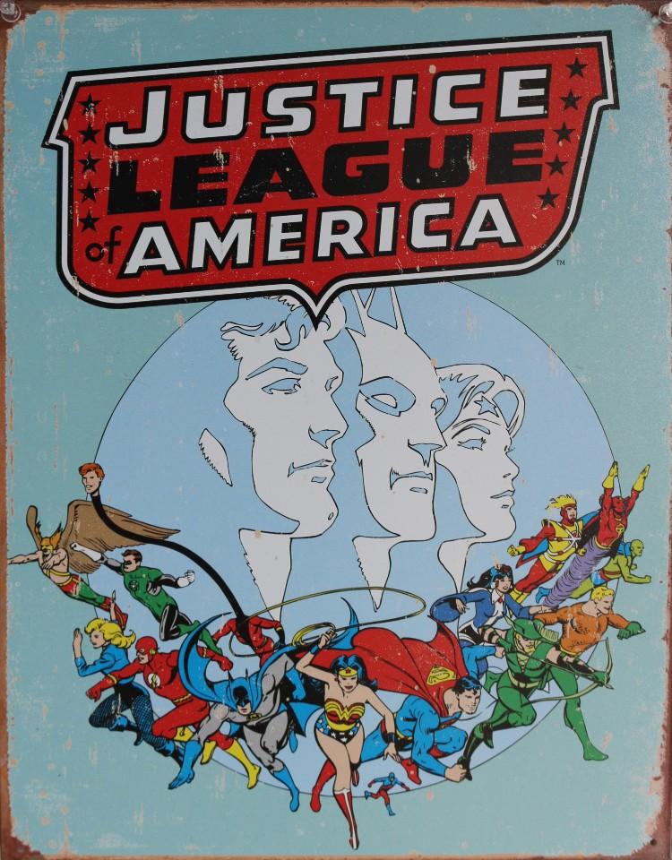 Justice League of America Tin Sign DC Comics Flash Wonder Woman Superman Batman